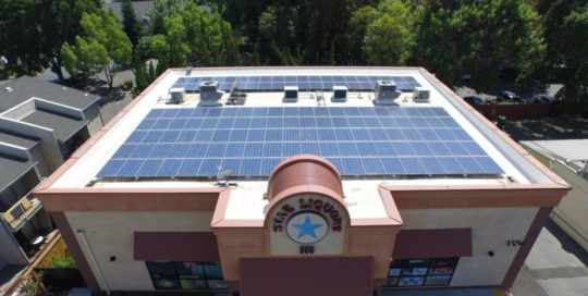 Photo of commercial solar installation at star liquors
