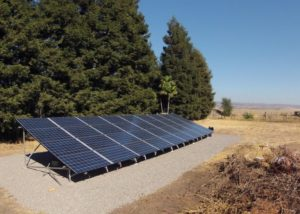 Photo of residential solar panels ground mount